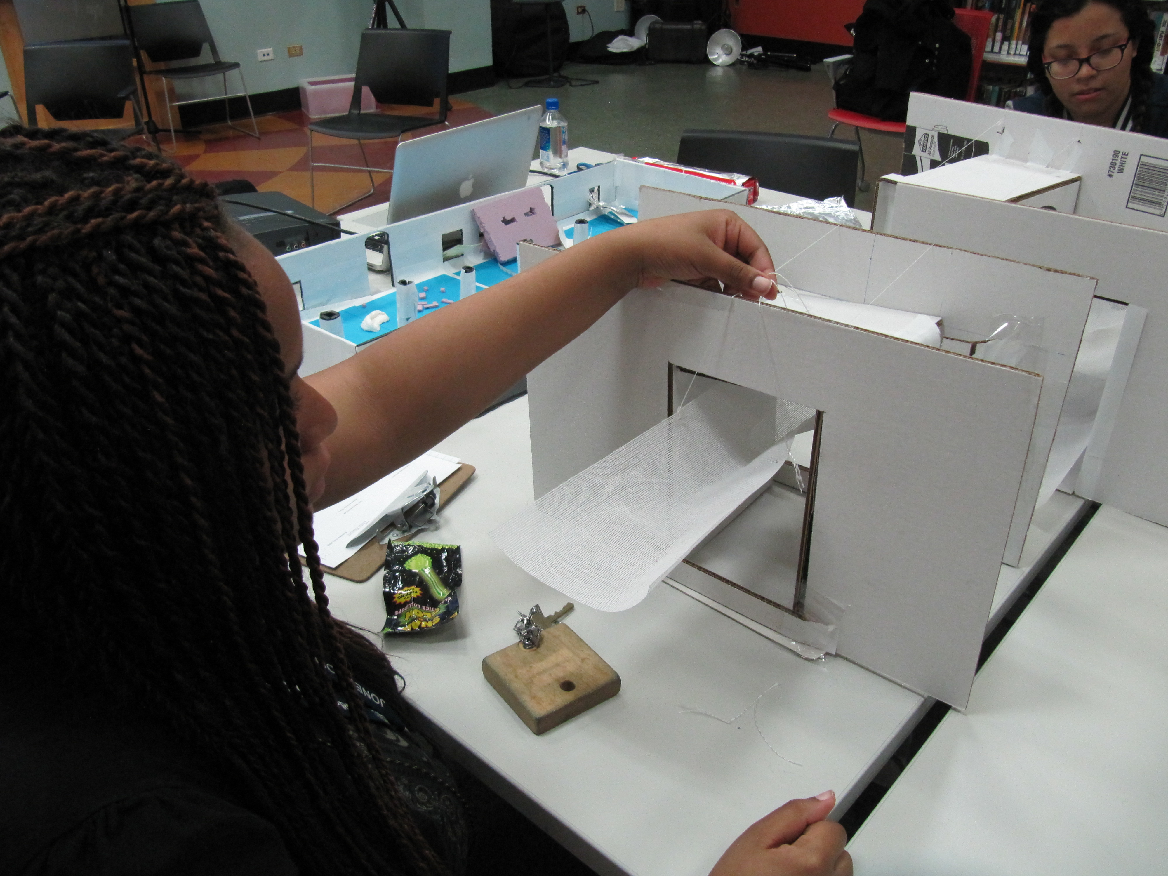 Physical model using materials