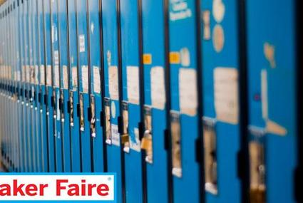 A row of blue lockers
