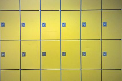 Row of yellow lockers