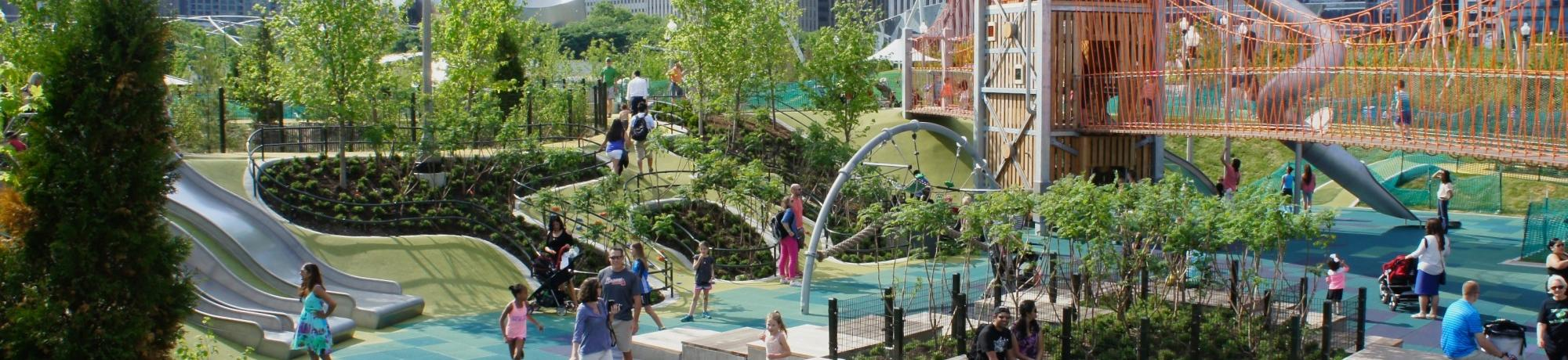 Maggie Daley Park downtown Chicago is an example of an all-ages playscape